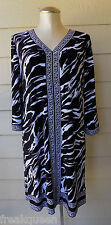 NEW Dana Buchman Black White Zebra Print 3/4 sleeve Dress sz M