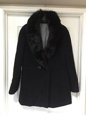 Steve by Searle Wool Coat with Fox Fur Trim - Size 12 - Made in the USA