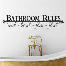 Bathroom Rules Quote Wall Sticker Vinyl Art Decals Mural Home Decor Words