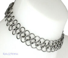 NARROW Steel Chain Mail Choker 8MM by SINPATIKO * Goth Punk Emo