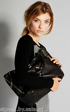Karen Millen Sleek Modern Side Zip Leather Large Pocket Shopper Tote Black Bag