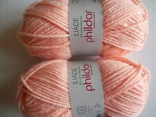 Phildar Iliade wool blend yarn, Light Peach (Guimauve), lot of 2, (92 yds each)