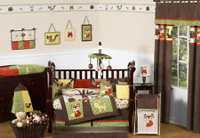Nature Animal Woodland Themed Green Brown 9p Baby Boy Crib Bedding Comforter Set