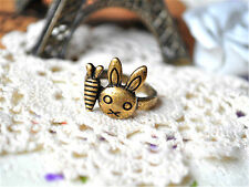 Vintage antique style bronze rabbit carrot bunny ring