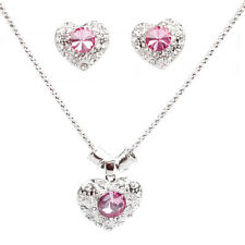 925 Sterling Silver Plated Crystal Heart Pendant Necklace Earrings Jewelry Sets