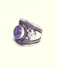 Tibetan Blue Jewel Trinket Ring- Antique Silver Jewellery- Amulet Boho Bohemian