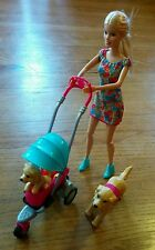 BARBIE Strollin' Pups Playset  with doll, Taffy dog, puppy & stroller