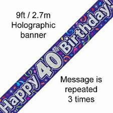 40TH BIRTHDAY PURPLE HOLOGRAPHIC HAPPY BIRTHDAY PARTY BANNER 2.7M (9FT) LONG