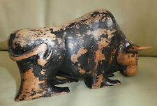 Obra De Arte Tallada de Madera Vintage De Un Toro Español Escultura, Estampado PP a la base