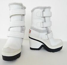 NIB Hunter Original Genuine Sheepskin Lined Boots Wedge Heel  Sz 6 M White $395
