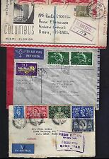 ISRAEL UK US SWITZERLAND 1949's 50's THREE INCOMING CENSORED COVERS