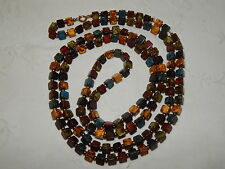 VINTAGE V LONG SCOTTISH PEBBLE AGATE GLASS BEAD FLAPPER-STYLE NECKLACE ~ RETRO