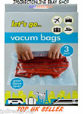 3 X VACUUM TRAVEL STORAGE BAGS SPACE SAVER SEAL BAGS PROTECT CLOTHING SUITCASE