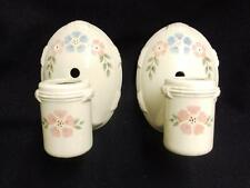 Vintage Pair Deco White Porcelain Sconce Light  Floral Shabby Bathroom 3472-14