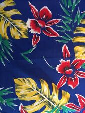 "VTG Mid-Century Orchid Palm Floral Hawaiian Cotton Fabric 45"" W 1 Yd Blue Yellow"