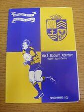 1990/1991 Rugby Union Programme: Aberaman v Pontypridd [Centenary]. Footy Progs/
