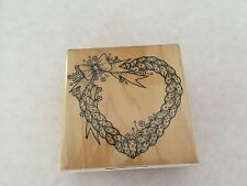 Vintage HERO ARTS 1988 Braided Heart F612 Wreath Rubber Stamp