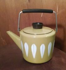 Rare! Vtg Retro 60's Cathrine Holm of Norway Green / White Enamel Lotus Tea Pot
