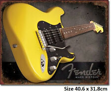Fender Guitar - Make History Tin Sign 1764  Made in USA