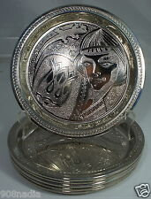 SILVER PLATE OR CHROME SET OF 6 PLATES ISLAMIC TULIP AND LIZZARD
