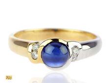 18 K 750 Gelb Gold Weißgold 0,90 ct Saphir 0,08 ct Brillant Verlobung Damen Ring