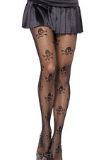 Womens Net Skull Halloween Black Tights / Pantyhose - Fancy Dress Stockings