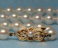MIKIMOTO 7mm PEARL NECKLACE, 14K GOLD 585 CLASP, BEAUTIFUL!!