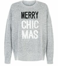 Unique Ladies Christmas Jumper - New Look Pale Grey Merry Chic Mas Jumper S NEW
