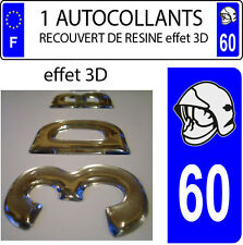 1 sticker plaque immatriculation auto DOMING 3D RESINE CASQUE DE POMPIER DEPA 60