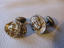 Antique Victorian Art Nouveau Oval Cameo Woman Maiden Gold Tone Cufflinks