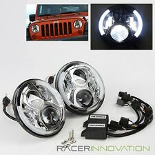 Jeep Wrangler 07-15 JK/97-06 TJ 80W CREE LED Chrome DRL Halo Projector Headlight