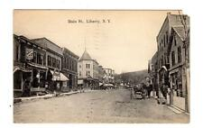 NY - LIBERTY NEW YORK 1909 Postcard MAIN STREET PHOTOGRAPHER DRUG STORE