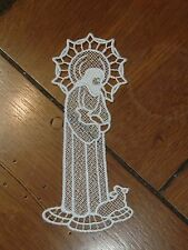 Embroidered Bookmark - Jesus W/Lamb - White