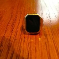 Vintage 14K White Gold Black Onyx Ring 9.2g Cocktail Mens Womens Size 7 1/4 7.25