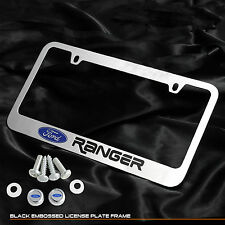For Ford Ranger Truck Chrome Cast Zinc Metal License Plate Frame Logo Cap Cover
