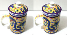 2 PCS YELLOW Dragon Ceramic Porcelain Tea Cup Coffee Mug with Infuser and Lid