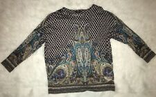 ETRO MILANO 3/4 Sleeve PAISLEY PRINT SHEER BLOUSE TOP SIZE 40 / US 4 / Small