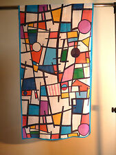 Crepe de chine long silk scarf Print of Mondrian geometric multicoloured   NEW