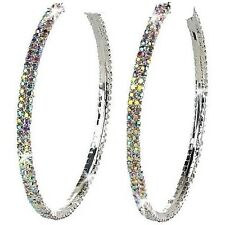 "3"" Aurora Borealis Tavalite Micro Pave Set Crystal Rhinestone Cz Hoop Earrings"