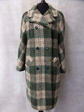 Ladies Vintage Herringbone Tartan Wool and Mohair Overcoat Coat Size 16 CC4005