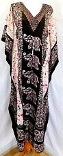 J GEE WOMEN PLUS FREE ONE SIZE INDIA ELEPHANTS CAFTAN KAFTAN DRESS TUNIC BROWN