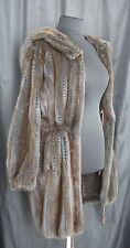 Giuliana Teso Perforated BROWN BLUE MINK FUR SUEDE Double Side Hooded COAT Italy