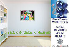 Kids bedroom Disney Princess EFFETTO 3D Finestra Adesivo Muro.