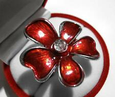Tibetan Silver Glazed RED Enamel Rhinestone FLOWER Ring Gift Boxed NEW