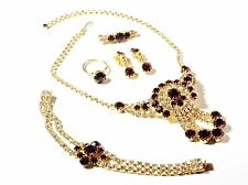 Vintage Czech gold tone rhinestone necklace pin brooch earring ring bracelet set