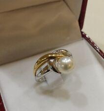 anello KIARA    oro bianco e giallo  con  perla