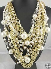 Newest Design huge Lady Statement pearl crystal chunky chain charm necklace 1007
