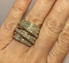 New Large 14k Yellow Gold Sterling Silver 1Ct Diamond Criss Cross Wedding Ring 7