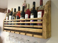 FARMHOUSE WOODEN WINE & GLASS RACK HOLDER - HAND MADE