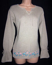 Laura Ashley vintage beige hand embroidered tie front cotton knit jumper, Large